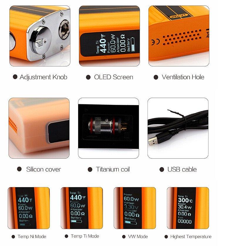 Kit eVic VT - Laranja  Preto  Branco - 5000 mAh - Joyetech™