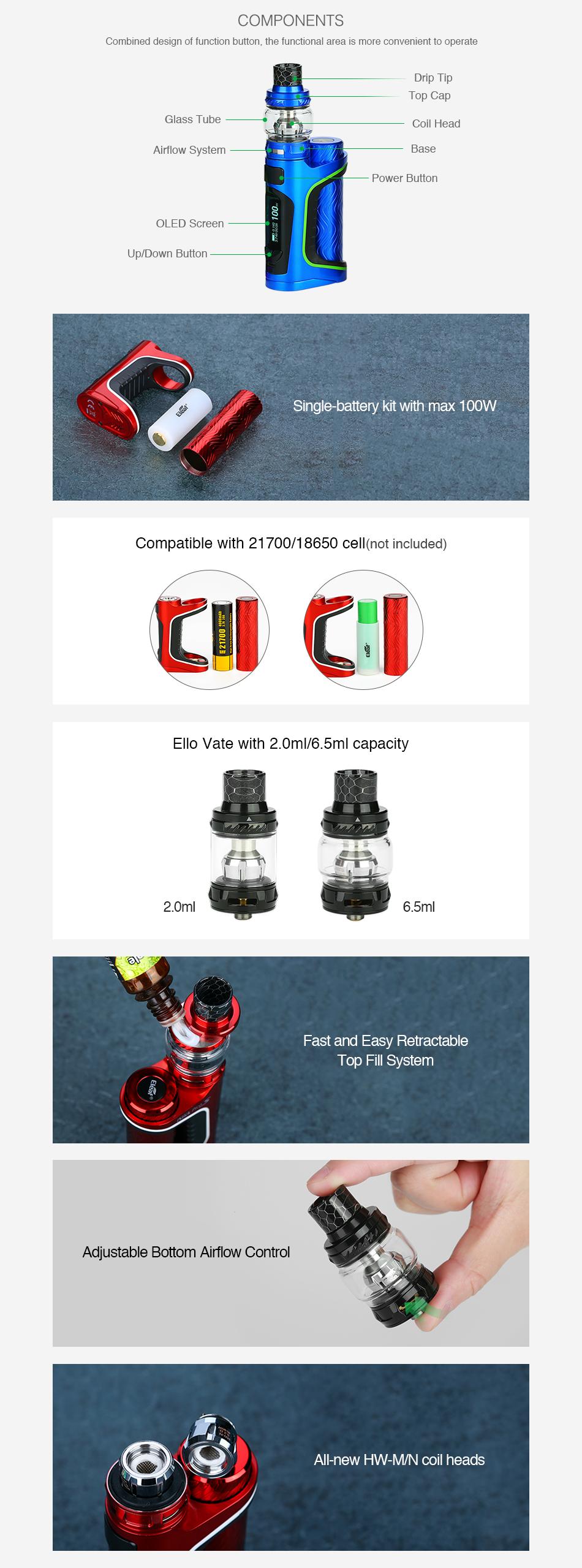 Kit iStick Pico S 100W TC c/ Atomizador Ello Vate - Eleaf