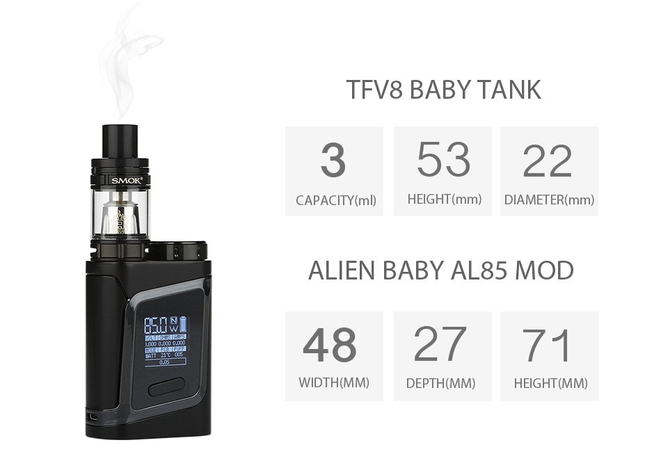Kit Alien Baby - AL85 TC 85W - c Atomizador TFV8 Baby - Smok™