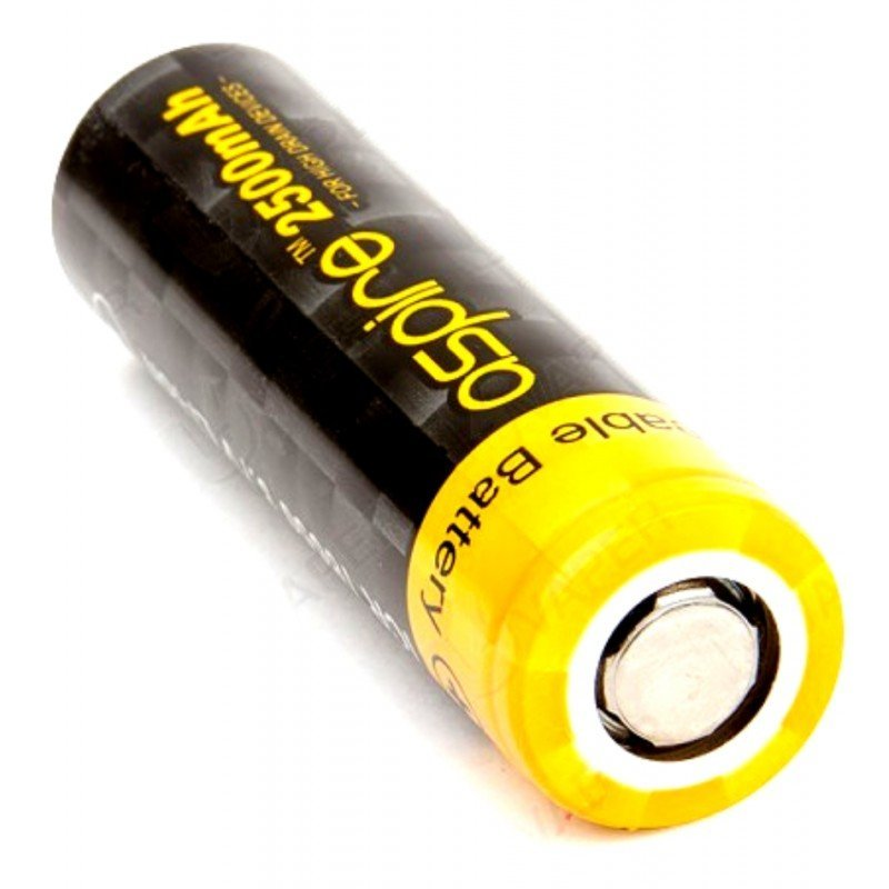Bateria 18650 Li-ion ICR 3.7V 2500mAh High Drain 40A Flat Top - Aspire