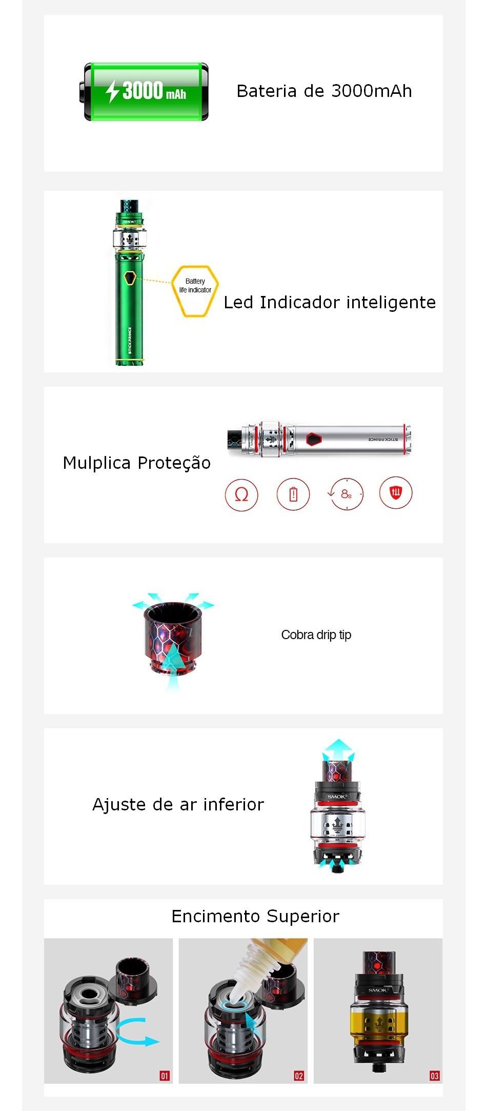 Kit Cigarro Eletrônico Stick Prince características