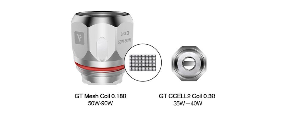 GT Mesh Coil 0.18ohm (50-90W), GT CCELL2 Coil 0.3ohm (35-40W)