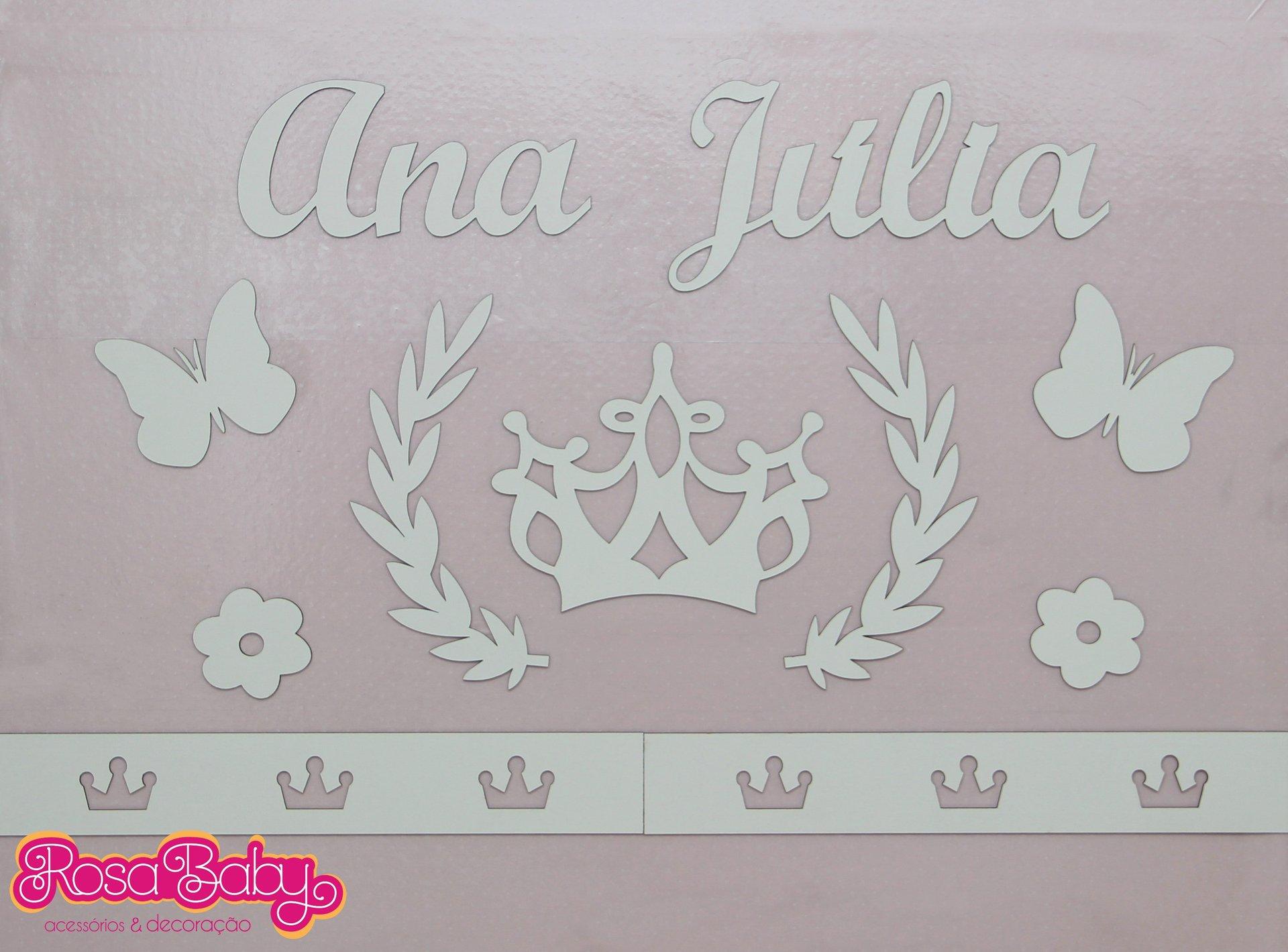 Kit painel de parede princesa mdf branco rosa baby for Papel pared personalizado foto