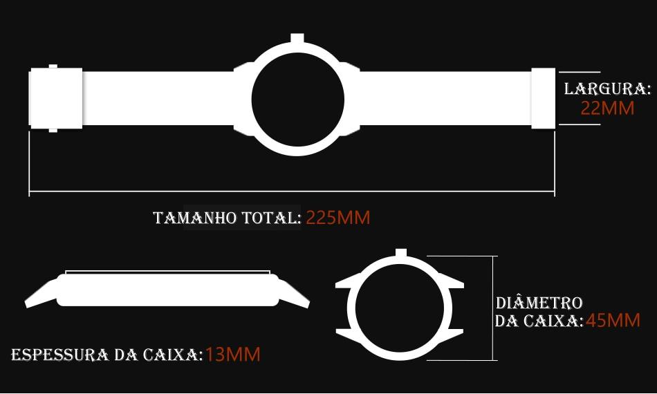 Relógio Megalith 8051 Pulseira de Couro-2