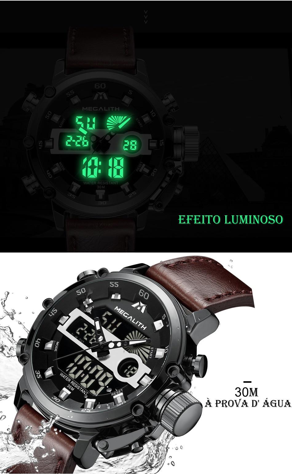 Relógio Megalith 8051 Pulseira de Couro-3