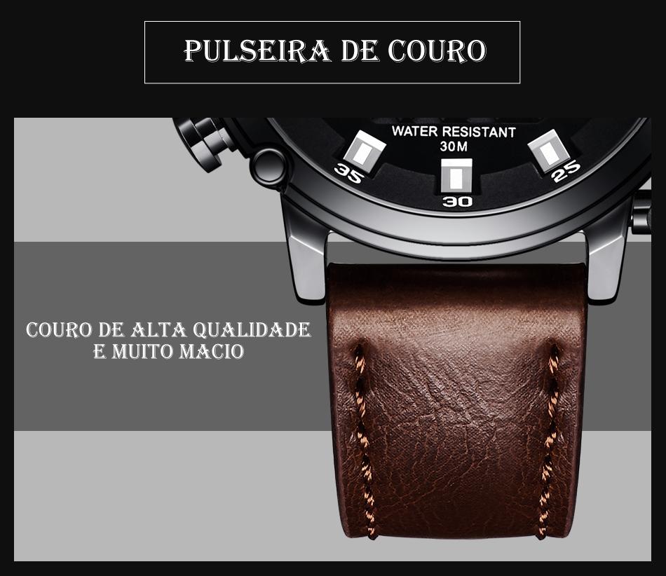 Relógio Megalith 8051 Pulseira de Couro-5