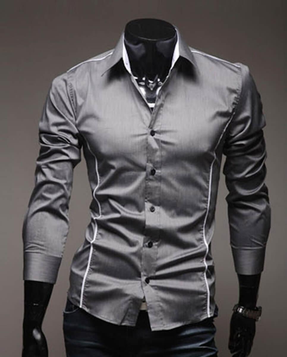 Camisa Social Masculina Slim Fit Luxo Estilosa Cinza