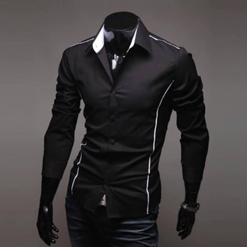 Camisa Social Masculina Slim Fit Luxo Estilosa Preta