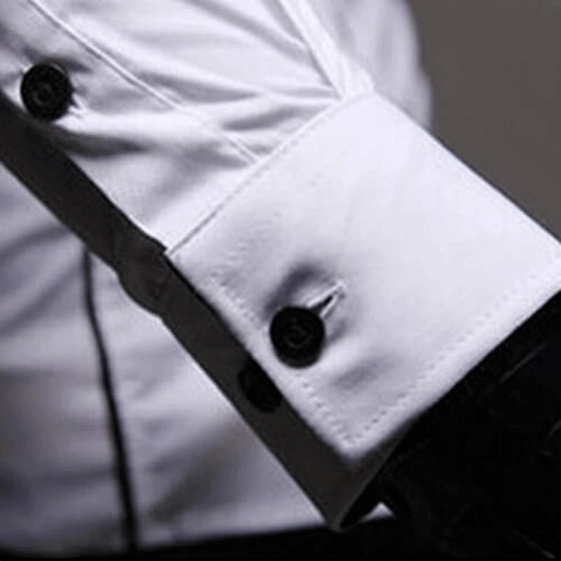 Camisa Social Masculina Slim Fit Luxo Estilosa Detalhes Manga Botão
