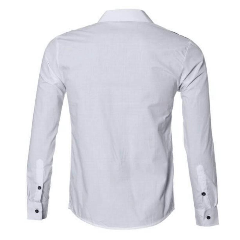Camisa Social Masculina Slim Fit Luxo Estilosa Branca Costas