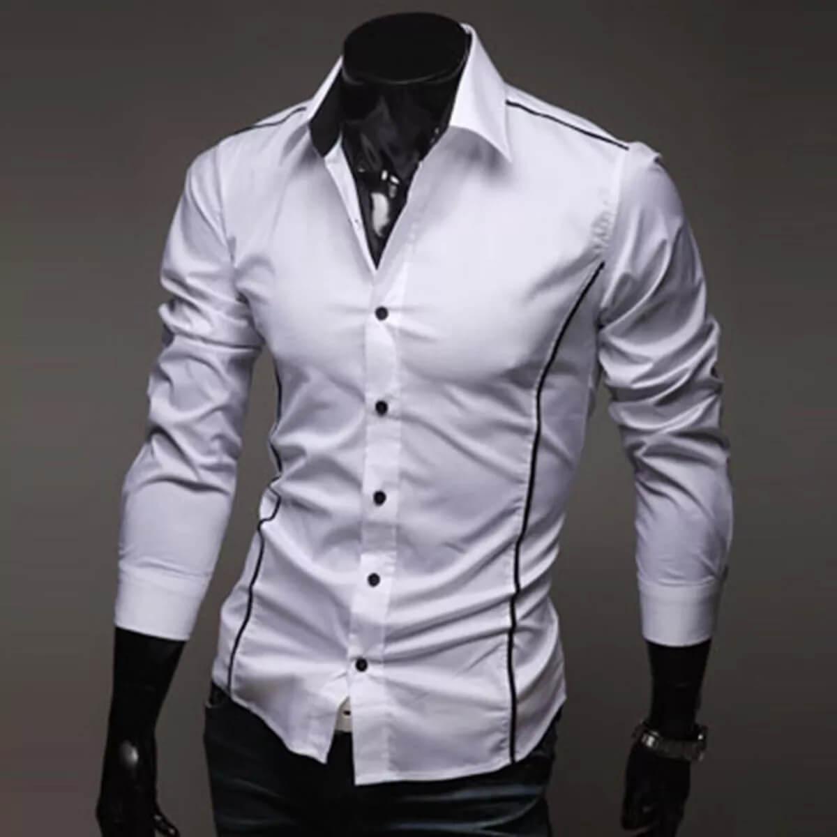 Camisa Social Masculina Slim Fit Luxo Estilosa Branca