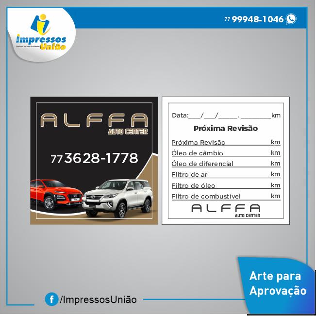 Adesivos troca de óleo Alffa Auto Center