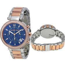 2822cdf6860 ... Relógio Feminino Michael Kors MK6141 Prata Rose Fundo Azul - Imagem 3