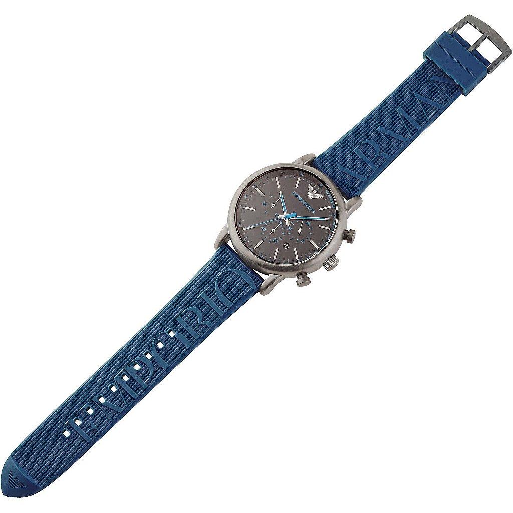 d9fbc6ea476 ... Relógio Masculino Empório Armani AR11023 Pulseira Azul Fundo Preto -  Imagem ...