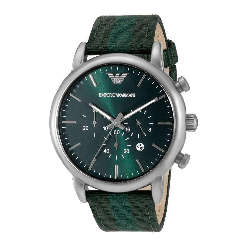 09cd87d285c Relógio Masculino Empório Armani Ar1950 pulseira verde Fundo Verde - Imagem  1 ...