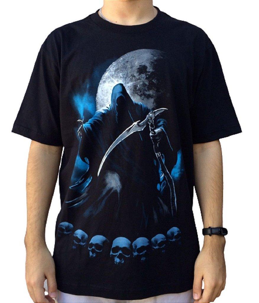 Camiseta Death Moon - Camiseta rock de caveira - Masculina - 100% algodão