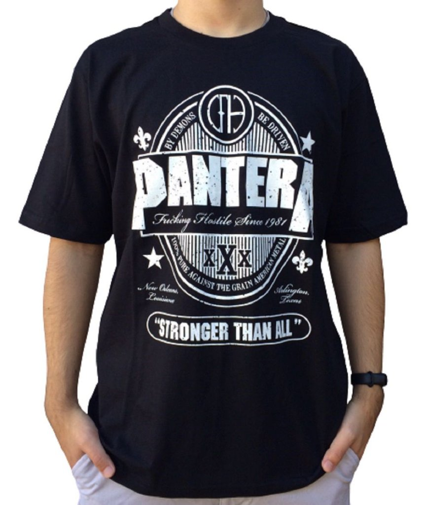 Camiseta Pantera Stronger Than All - Camiseta de banda - Masculina - 100% algodão