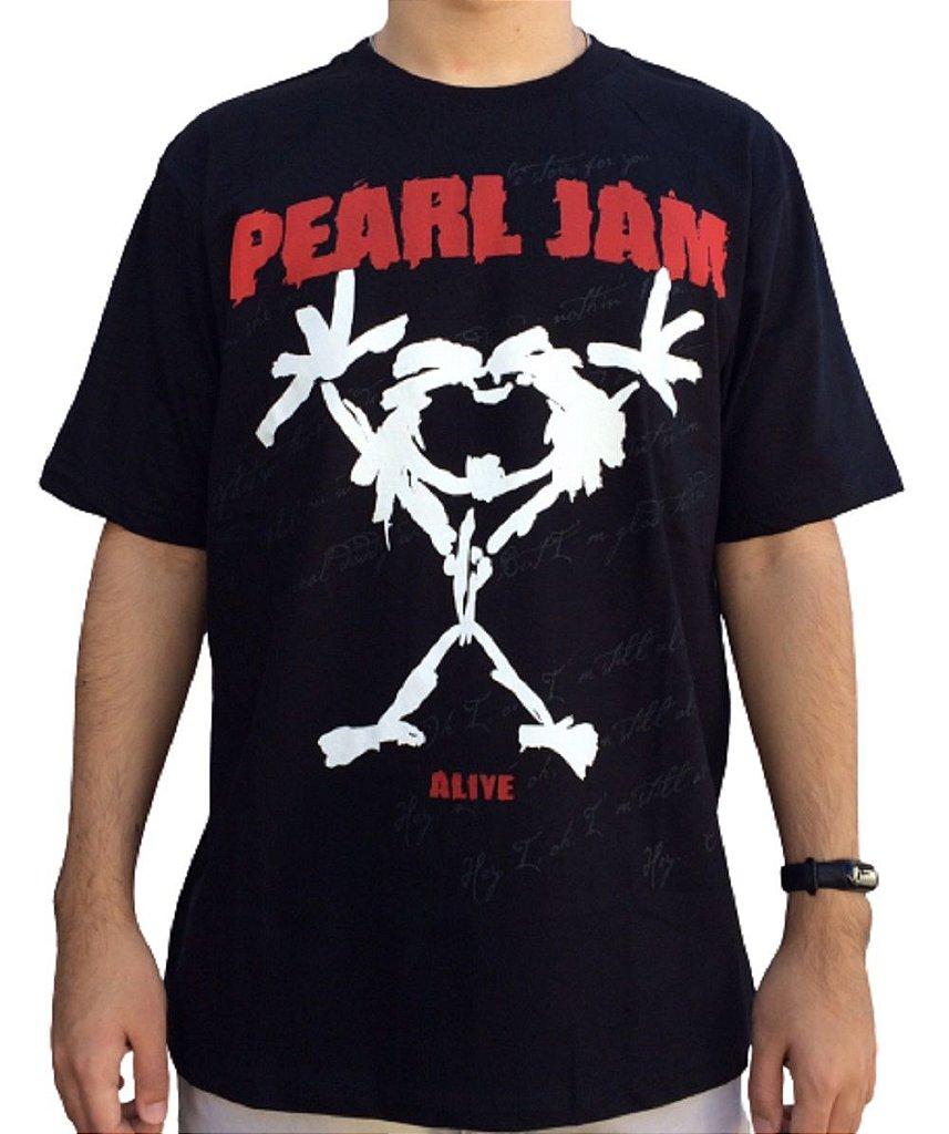 Camiseta Pearl Jam Alive - Camiseta rock - Masculina - 100% algodão