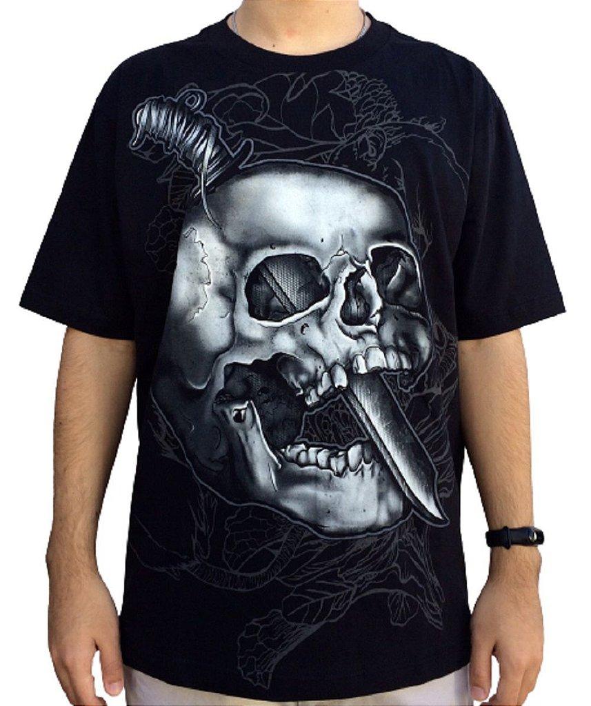 Camiseta Knife Skull - Camiseta rock de caveira - Masculina - 100% algodão