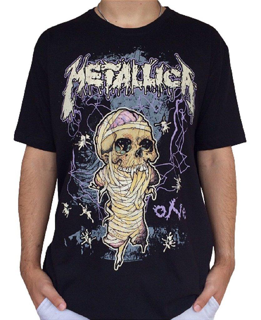 Camiseta Metallica - One - Camiseta de banda - Masculina - 100% algodão