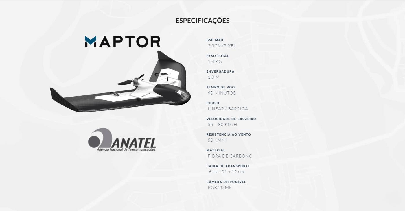 MAPTOR, MAPTOR DRONE, DRONE ASA FIXA, ASA FIXA MAPTOR, ESPECIFICAÇÕES
