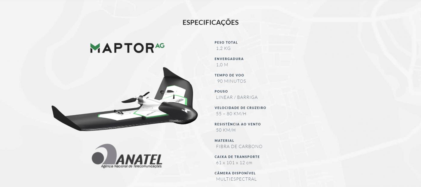MAPTOR AG, MAPTOR DRONE, DRONE ASA FIXA, ASA FIXA MAPTOR AG, ESPECIFICAÇÕES