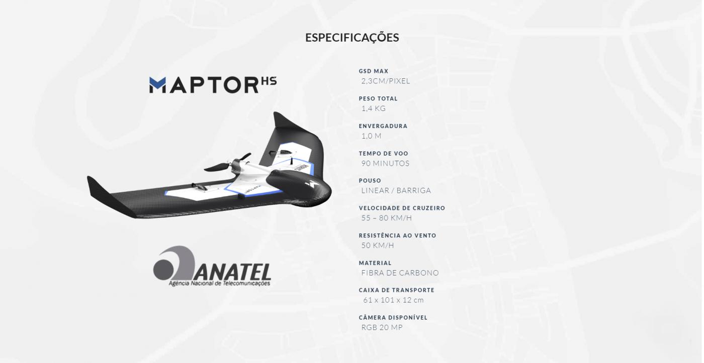 MAPTOR HS, MAPTOR DRONE, DRONE ASA FIXA, ASA FIXA MAPTOR HS, ESPECIFICAÇÕES