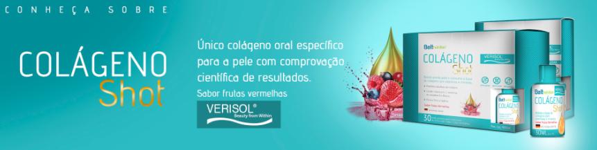 Banner do Belt Colágeno Shot com uma frase do seu diferencial: Único colágeno oral específico para a pele com comprovação científica de resultados.