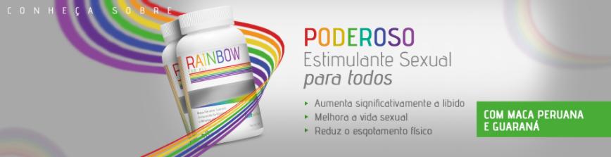 Recipiente do multivitamínico Belt Rainbow com o slogan: Poderoso Estimulante Sexual para todos. Pequena lista referente a esse slogan.