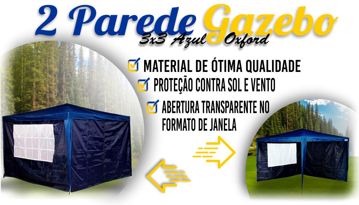 Parede Gazebo 3x3m Azul Oxford