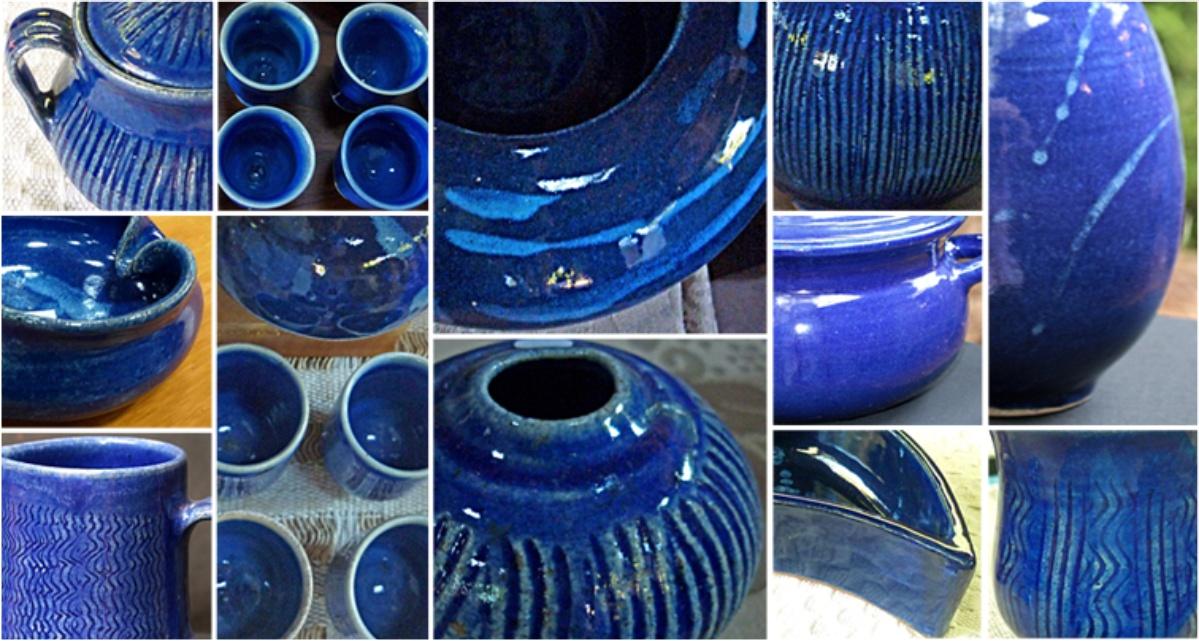 Montagem de fotos exemplificando as variações e tonalidades do esmalte Azul cobalto.