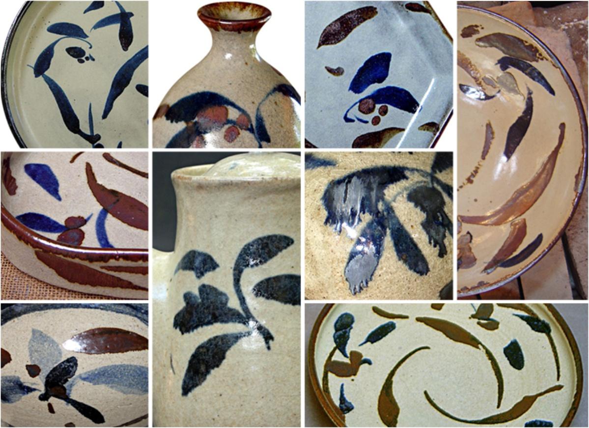 Montagem de fotos exemplificando as variações e tonalidades do esmalte colonial floral.