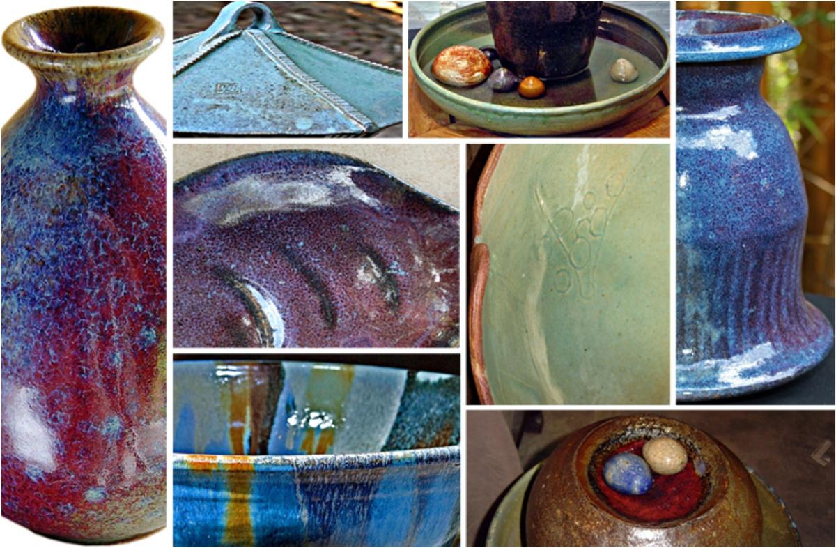 Montagem de fotos exemplificando as variações e tonalidades do esmalte Kinyo furta-cor.