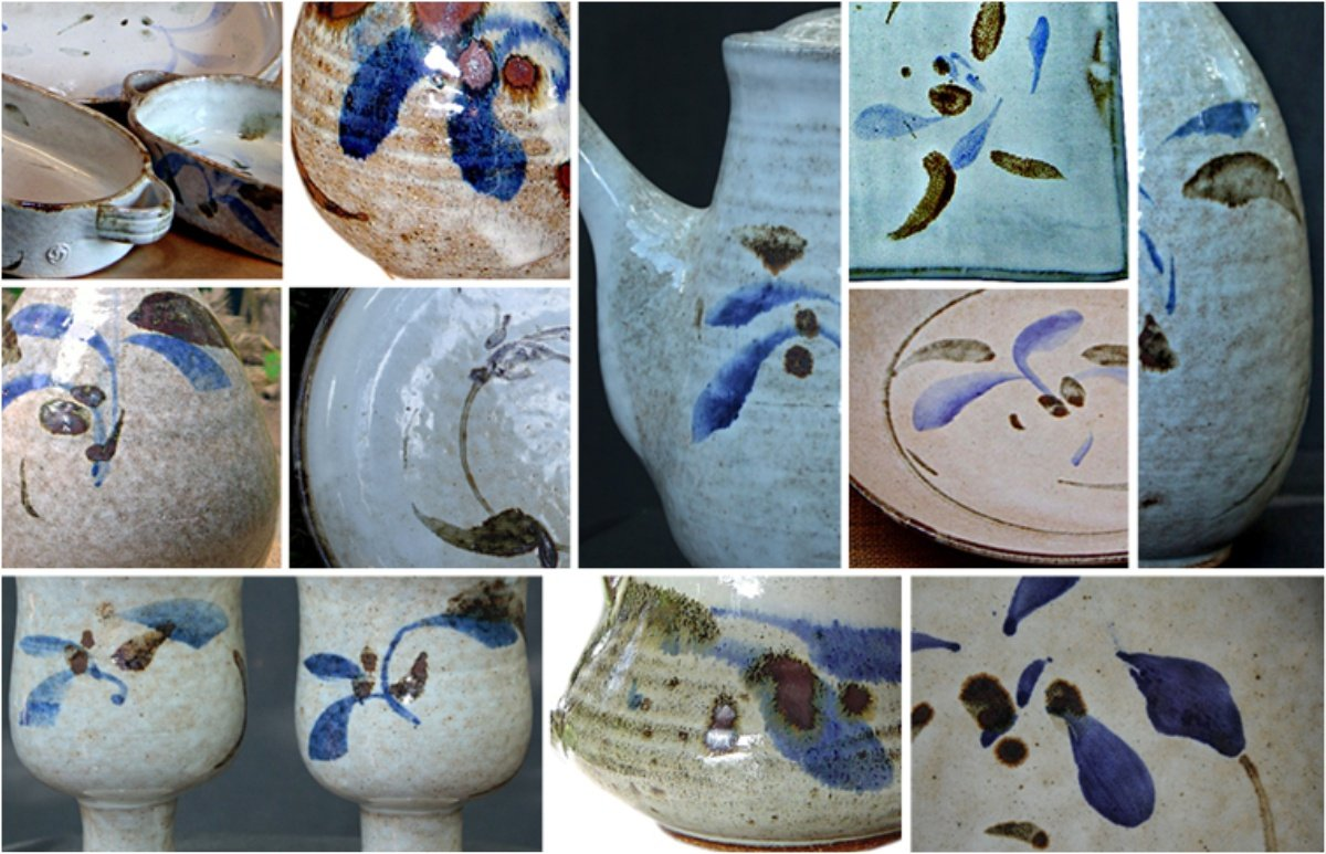 Montagem de fotos exemplificando as variações e tonalidades do Branco floral Shirahagui.