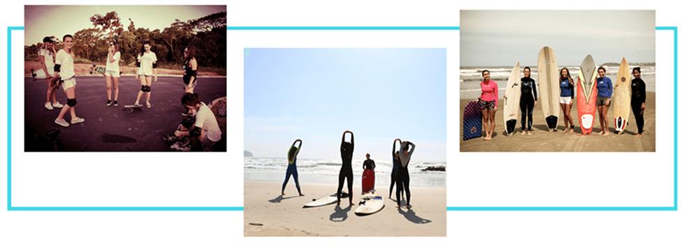 Grupo de amigas em 3 imagens, na primeira tem 6 mulheres com longboard, capacete, joelheira e cotoveleira ao praticarem numa rua. Na segunda imagem 5 amigas se alongando na beira da praia com roupas de surf e pranchas de surf. E na última imagem 5 amigas na beira do mar posando para a foto lado a lado com suas pranchas de surf