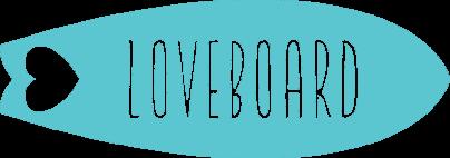 Logo da loveboard, uma prancha azul com o nome por cima em branco.
