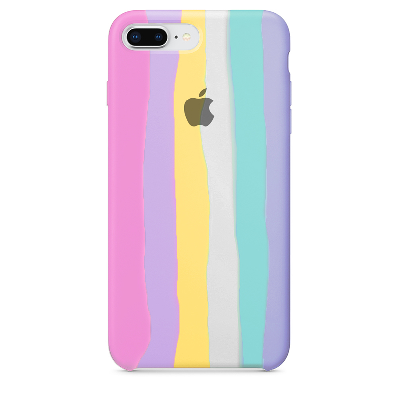 Case Capinha de Silicone Arco-Íris para iPhone 7 Plus e 8 Plus