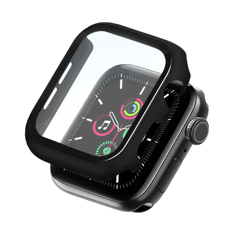Bumper Case Com Película Preta para Apple Watch Series (1/2/3/4/5/6/SE) de Silicone