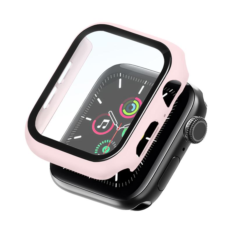 Bumper Case Com Película Rosa Areia para Apple Watch Series (1/2/3/4/5/6/SE) de Silicone
