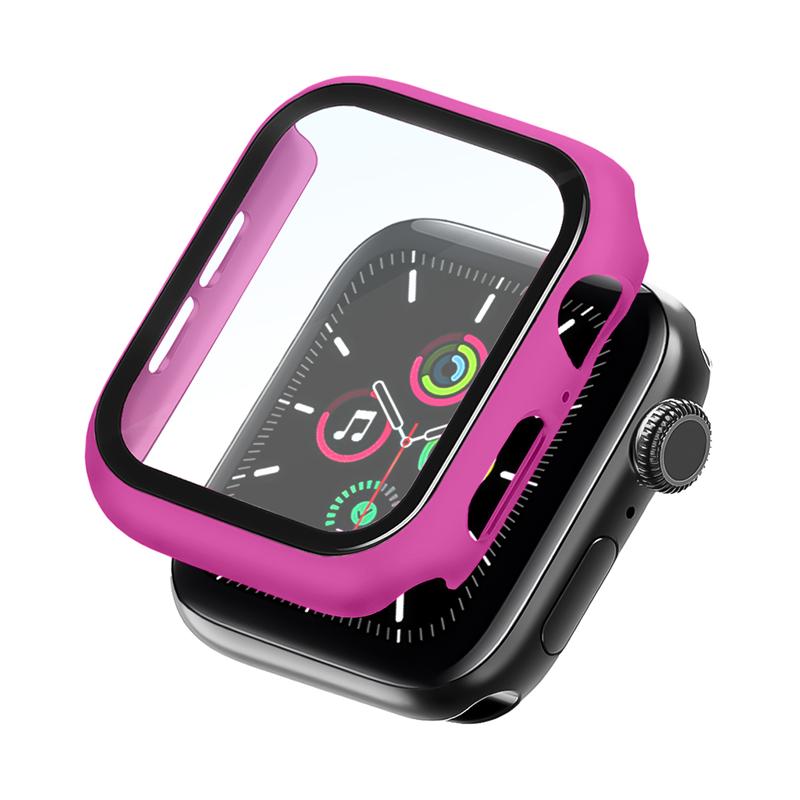 Bumper Case Com Película Rosa Hibisco para Apple Watch Series (1/2/3/4/5/6/SE) de Silicone