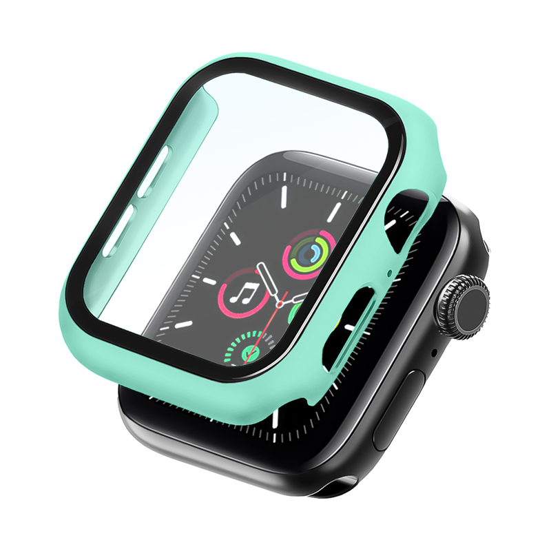 Bumper Case Com Película Verde Água para Apple Watch Series (1/2/3/4/5/6/SE) de Silicone