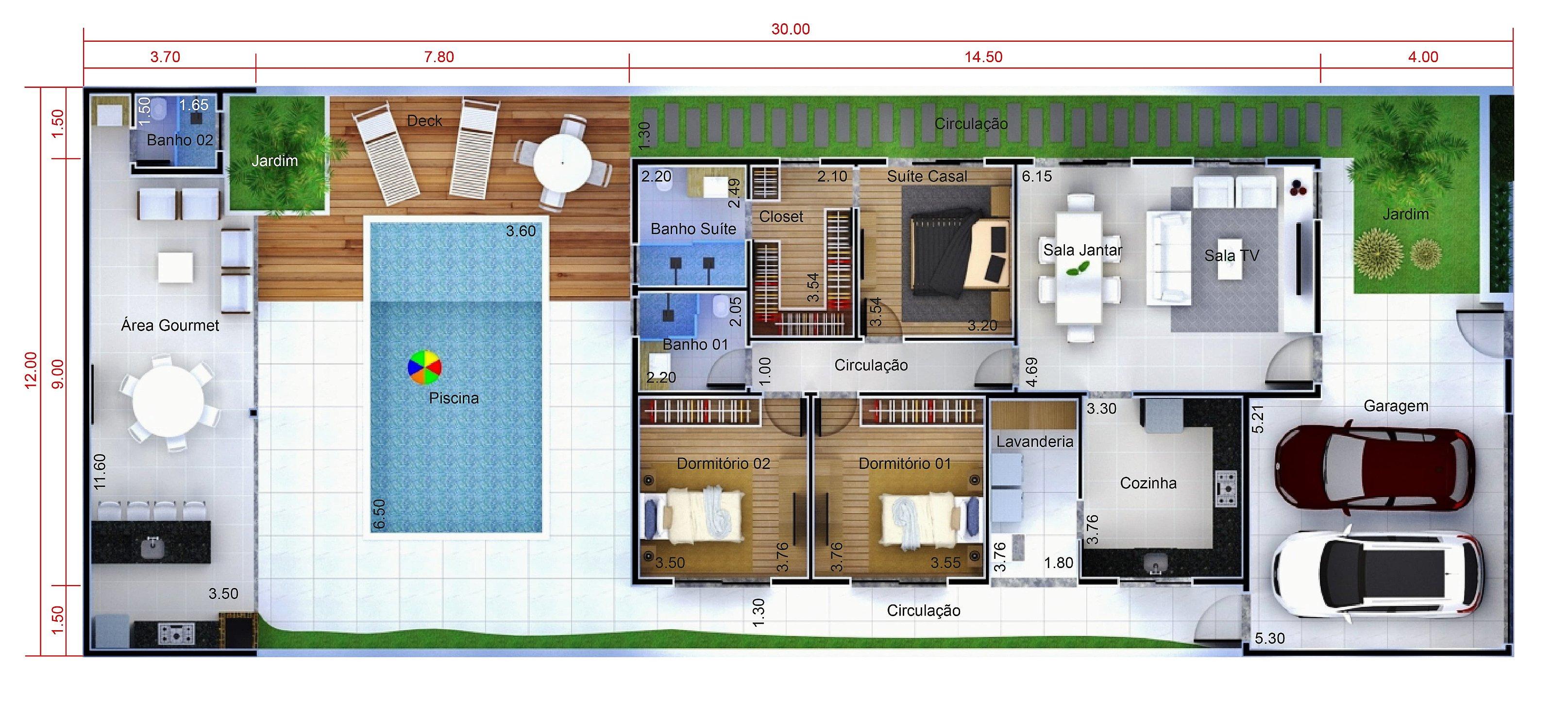 Planta De Casa Com Edicula E Piscina Planejar Obras