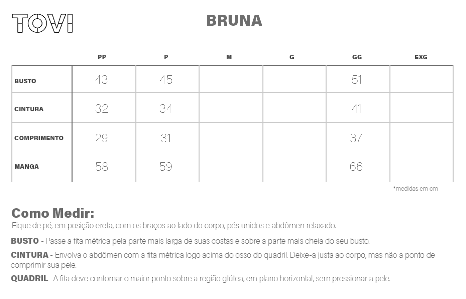 Tabela de medidas Blusa Bruna