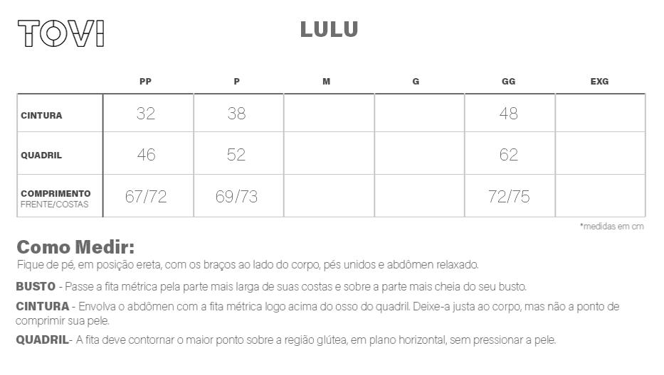 Tabela de Medidas Saia Lulu