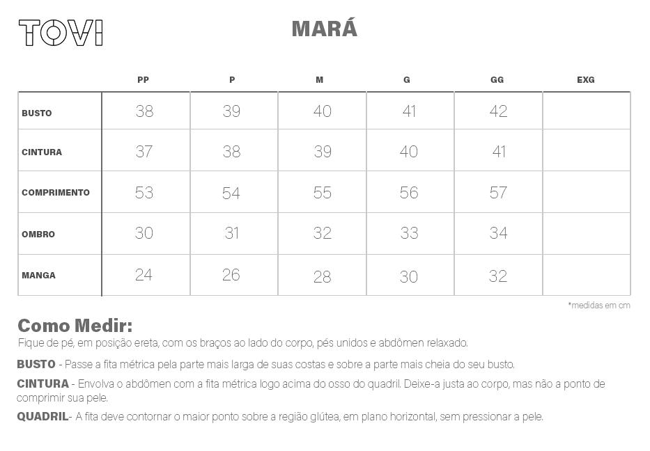 Tabela de medidas Camiseta Mará