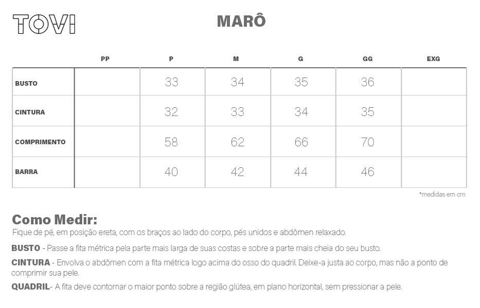 Tabela de medidas Marô