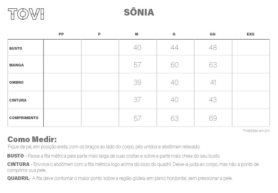Tabela de medidas Blusa Feminina Sônia