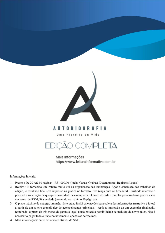 Publicidade referente aos serviços de edição completa de Autobiografia.