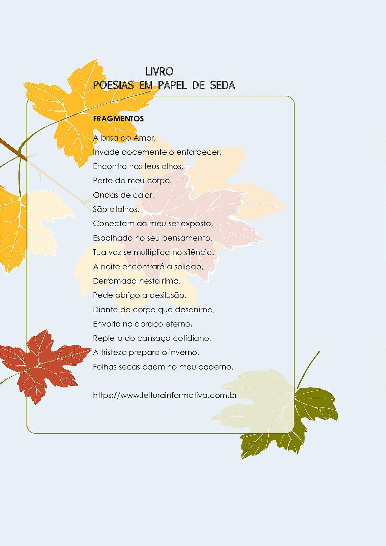 Poesia Fragmentos. Livro Poesias em Papel de Seda