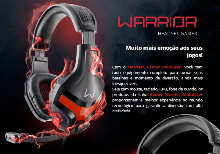 HEADSET GAMER WARRIOR HARVE P2 STEREO PRETOVERMELHO - PH101 - :: Bazzuka Shop::